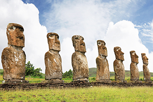 Die Moai-Steinstatuen in Chile