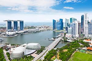Skyline des Stadtstaats Singapur
